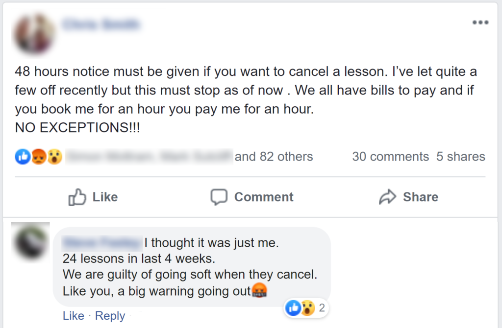 facebook driving lesson cancellation