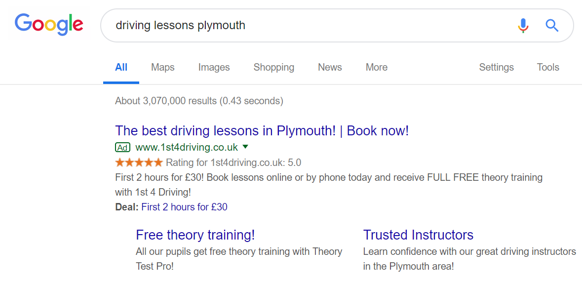 driving lessons google ad