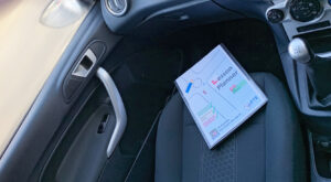driving lesson planner on car seat