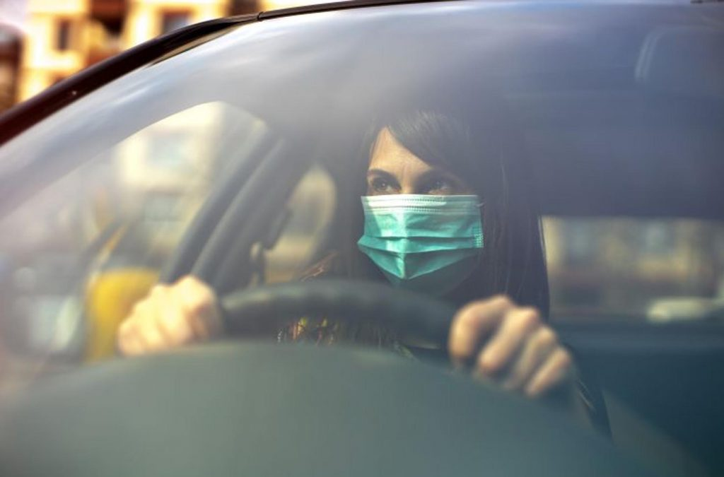 face mask in driving lesson